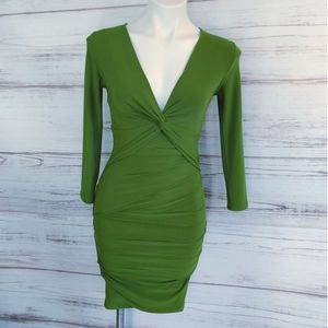 BCBG Maxazria Green Twist Front Bodycon Dres